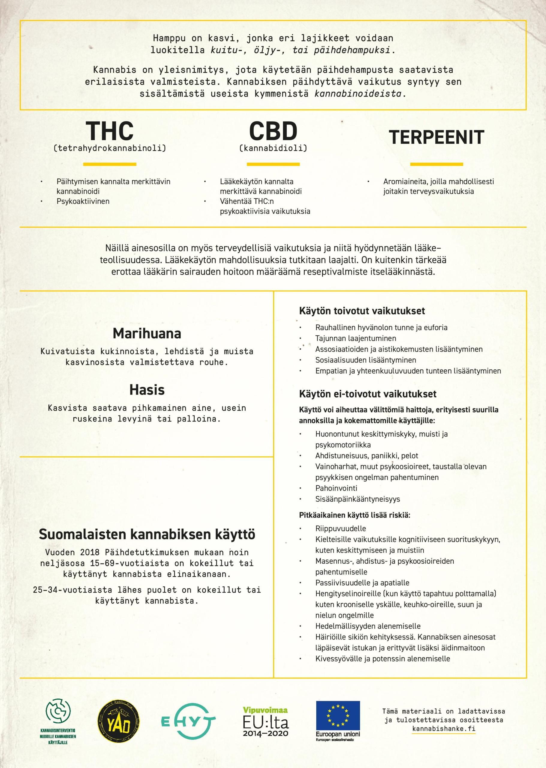Kuvassa selitetty kannabiksen ainesosat tarkemmin, suomalaisten kannabiksen käytöstä sekä käytön vaikutuksia.
